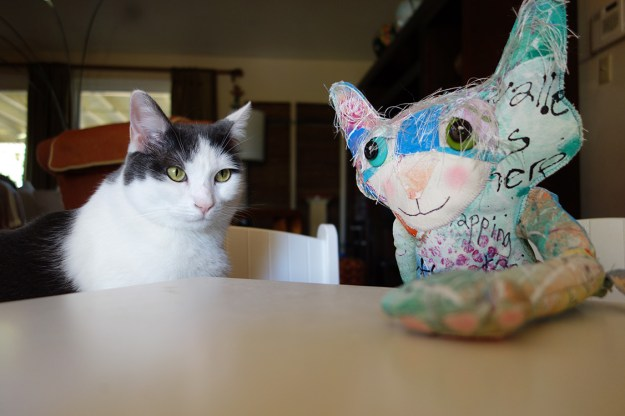 Wally the real cat and a whimsical cat doll sit at table.
