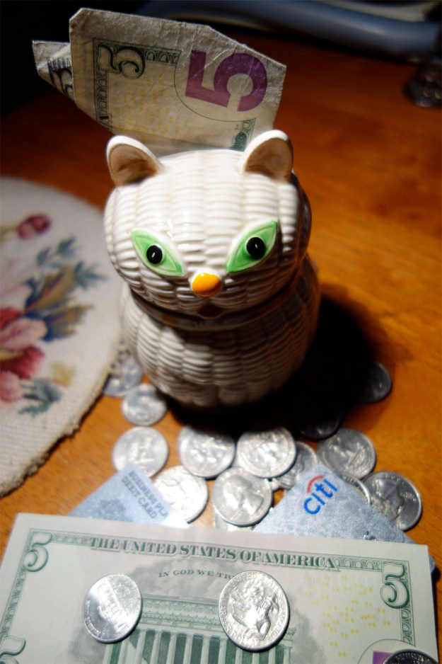 Cat piggy bank with bills, credit cards and coins over flowing.