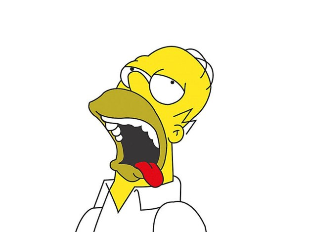 A picture of Homer Simpson with his tongue hanging out.