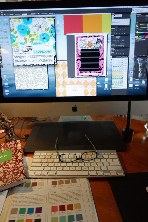 Photo of my iMac showing many colorful projects going on at once.