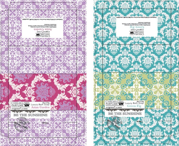 Very colorful damask designs for bar soap packaging.