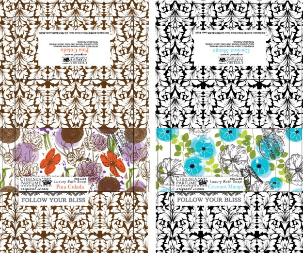 Abstract and fun, colorful flora patterns for bar soap boxes.
