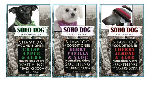 SOHO DOG shampoo labels made for the holiday 2014 market.