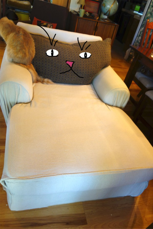 Photo of the almost finished chaise but the back pillow does indeed look like a cat head and there are eyes, a nose and mouth drawn in to prove it.