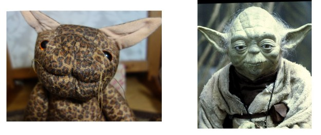The stiff cat doll is compared to a photo of Yoda from Star Wars. There is a resemblance.