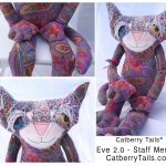 Soft Sculpture cat doll made of paisley fabric. This is staff member Eve Two Point Oh.