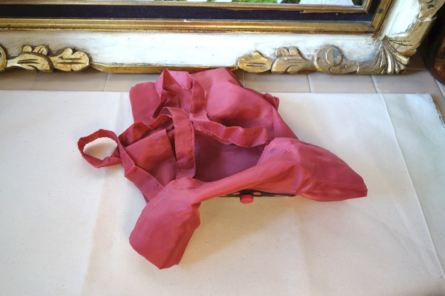 A pathetic pink nylon bag tossed on the countertop. Empty and drab.
