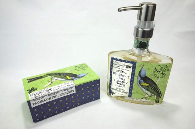 A bar soap box with a beautiful bird and a matching glass bottle of liquid hand soap.