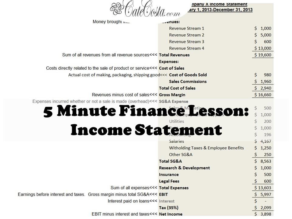 Income Statement Basics \u2013 Venture Catalyst Consulting