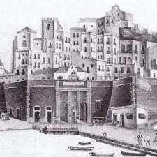 Grabado detalle puerto y Catedral de Cartagena