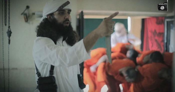 ISIS revealed men tied and murdered in a slaughterhouse.
