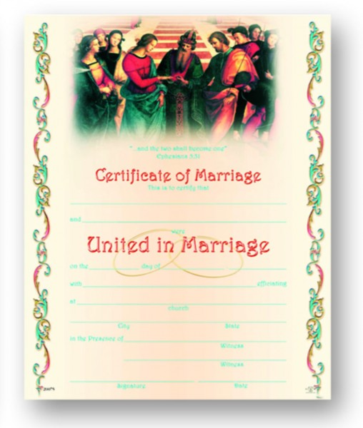 Marriage Certificate for Catholic Church