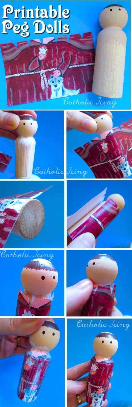 Printable Peg Dolls- Just Paint The Head And Decoupage The Rest!