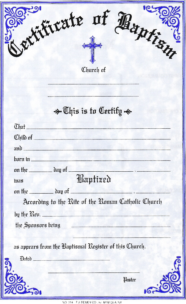 Catholic Baptism Certificate Template Reference Letter With Resume