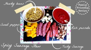 Ingredients for a spicy sausage stew recipe