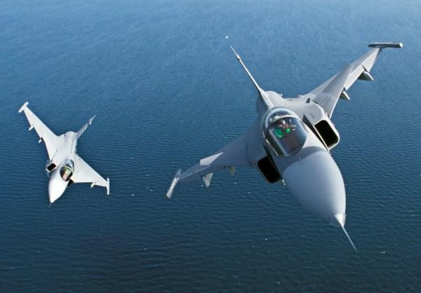 Caças Saab JAS39 Gripen da Força Aérea Sueca. (Foto: Saab Group)