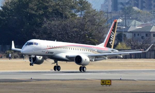O jato regional MRJ (Mitsubishi Regional Jet) que o Irã pretende adquirir para renovação da frota da Asensam Airlines. (Foto: Mitsubishi Heavy Industries)