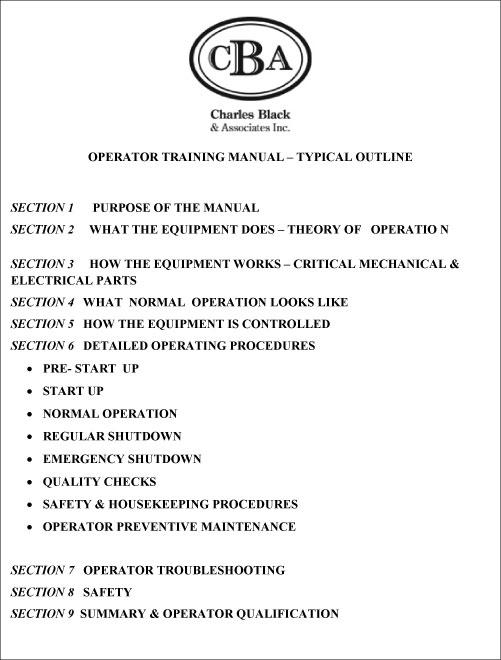 Operator Training Manuals Charles Black  Associates Inc - TRAIN