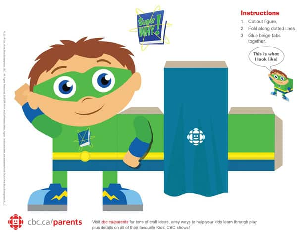 Printable 3-D Super WHY Paper Craft Play CBC Parents