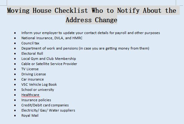 who to notify of address change