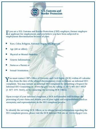 EEO Complaint Process US Customs and Border Protection - eeoc complaint form