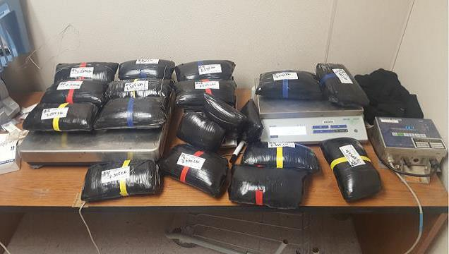 Agents found more than 38 pounds of meth in car at Border Patrol checkpoint.