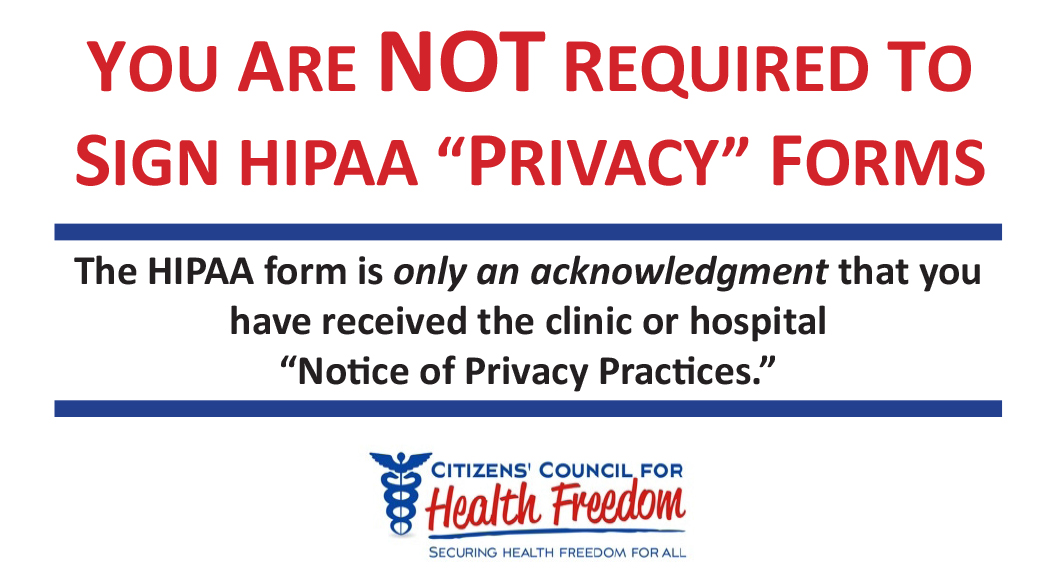 HIPAA Info Wallet Card Citizensu0027 Council for Health Freedom - hipaa form