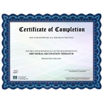 MRT client completion certificates (24 pcs) - Moral Reconation
