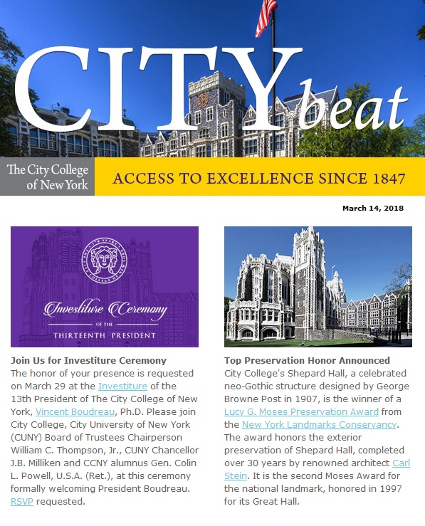CCNY City Beat newsletter sample content 031418jpg The City