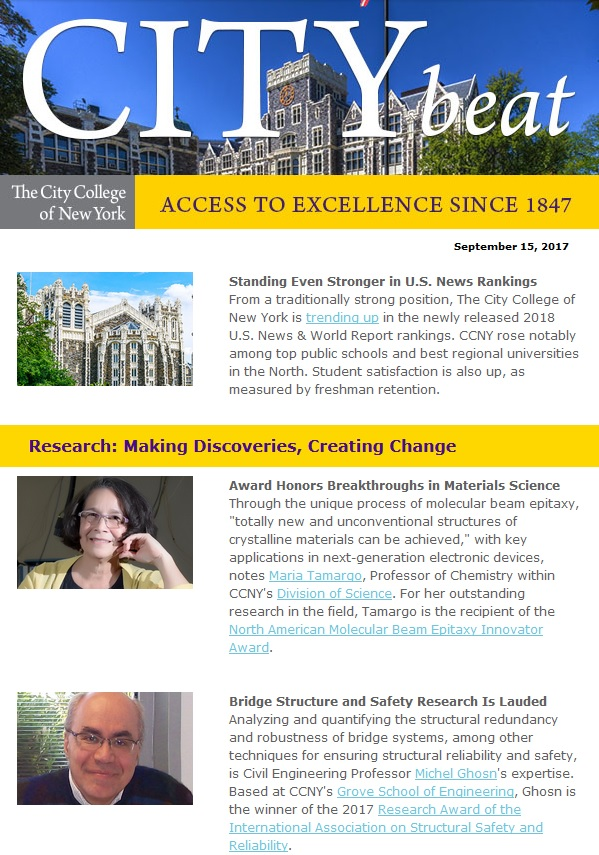 CCNY City Beat newsletter sample content 091517jpg The City