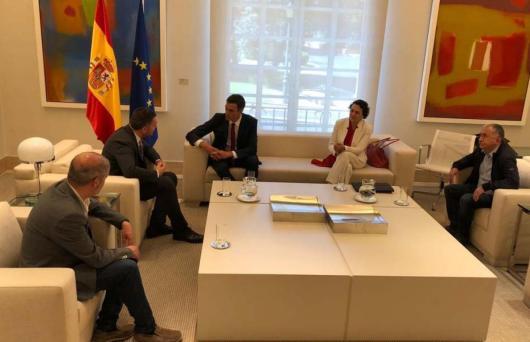 Luca Visentini, Unai Sordo y Pepe Álvarez se reúnen con Pedro Sánchez y Magdalena Valerio