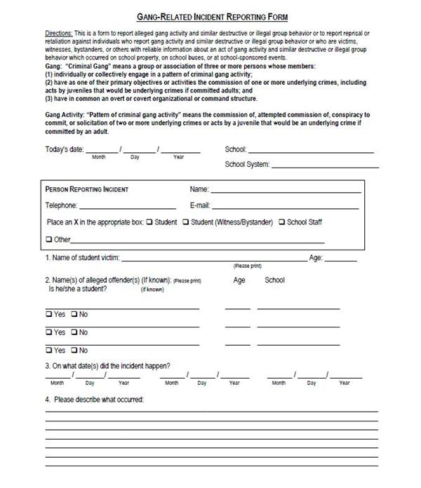 Student Services / Gang Related Incident Reporting Form