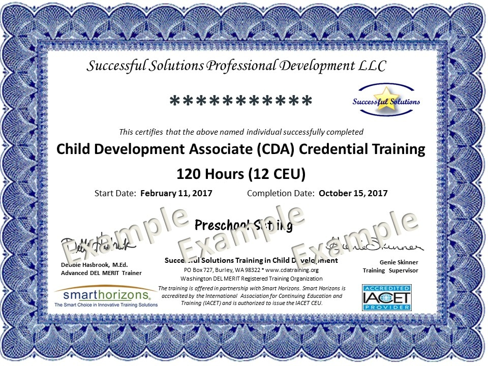 Successful Solutions Training in Child Development - CDA Training - merit certificate comments