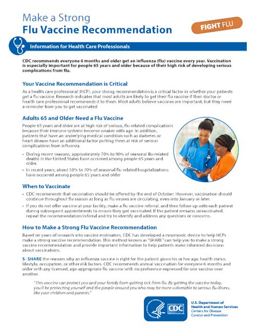 Make a Strong Flu Vaccine Recommendation CDC