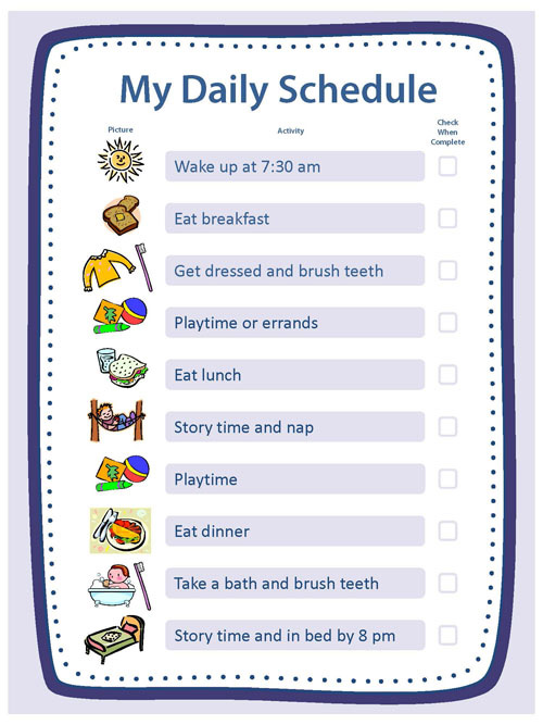 child daily schedule template