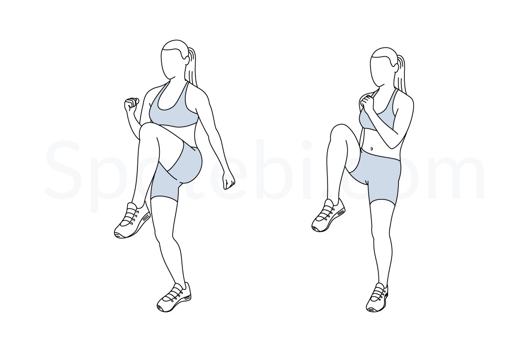High Knees Illustrated Exercise Guide