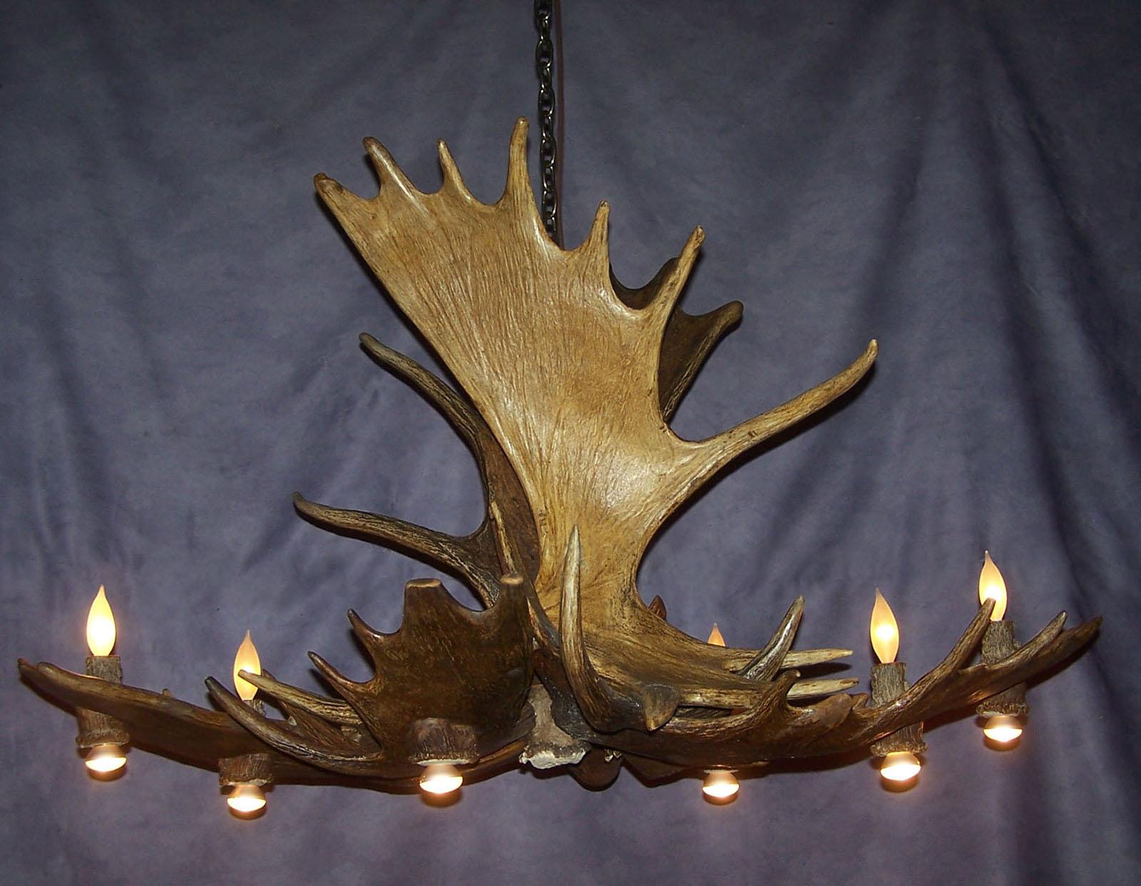 Moose Pool Table Antler Chandelier Rustic Deer Lodge