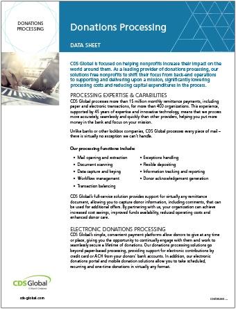 Donations Processing Nonprofit CDS Global