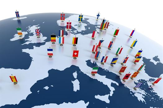 map-of-europe-with-flag-pins-on-countries - Convention Data Services