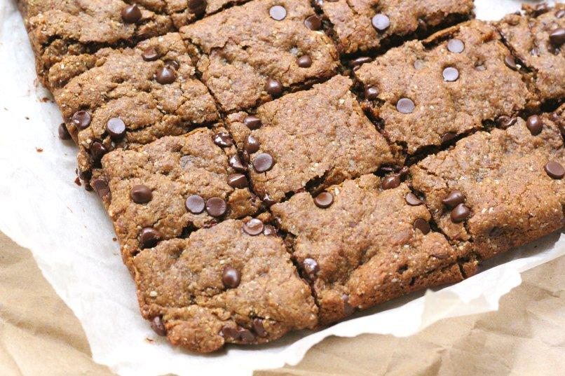 Healthy Chocolate Chip Blondies (Gluten Free Vegan)
