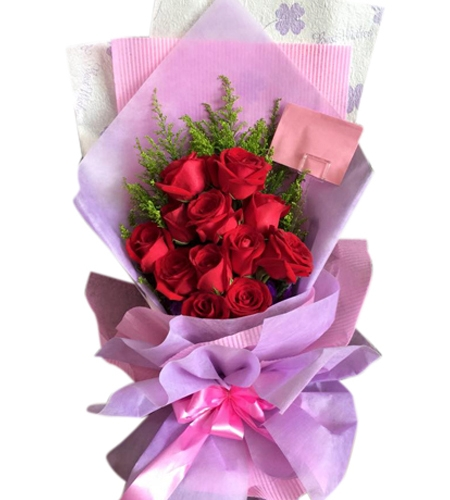 Send 12 Red Roses in Bouquet to Cebu Philippines Online Roses to
