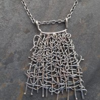 Woven Sterling Silver Pendant 66 cm long