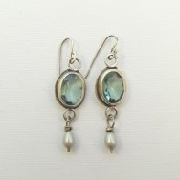 Aquamarine in Sterling Silver drops with pearls 50mm long