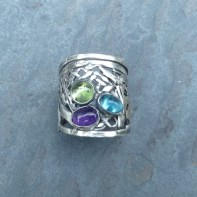 Freeform ring with 18ct gold accent and Peridot, Amethist and Aquamarine Stones US Size 11