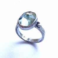 Aquamarine in 3mm hammered band with 18ct gold accents