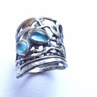 Freeform Sterling Silver Ring with 2 Aquamarines Size US 8