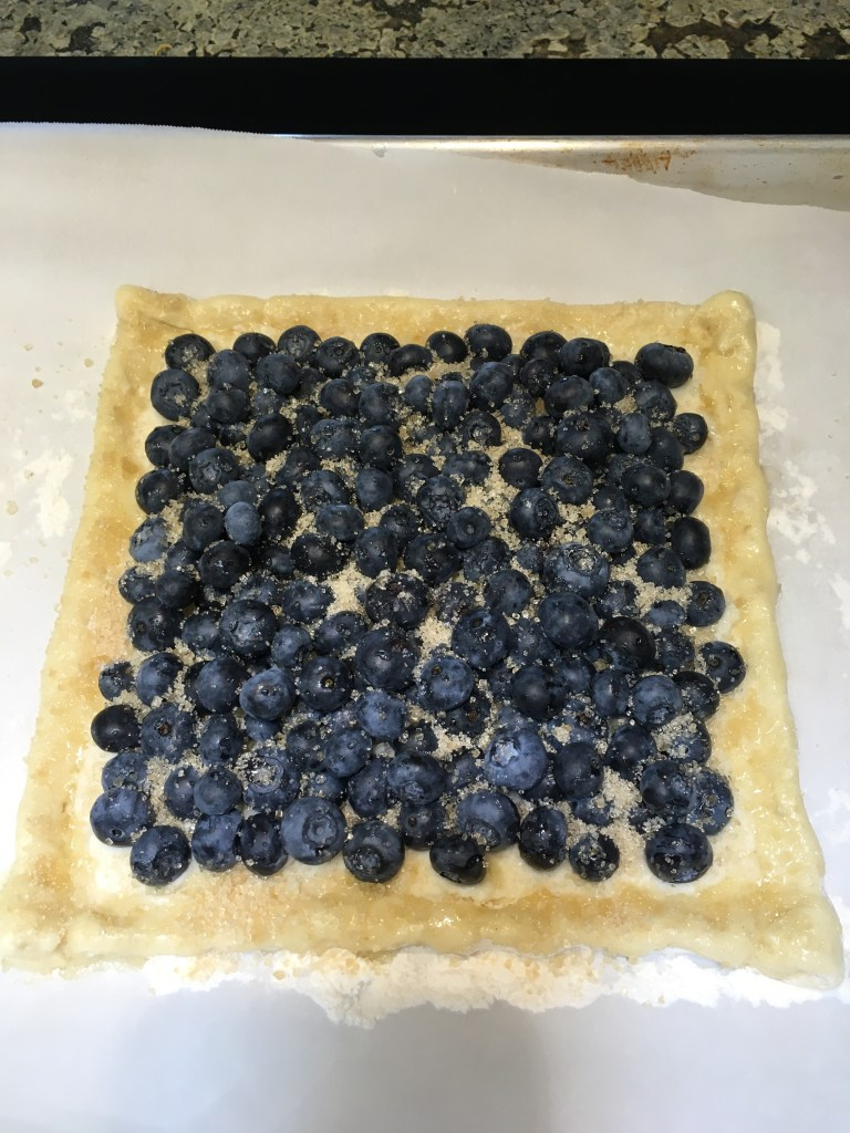Blueberry pastry ready for the oven