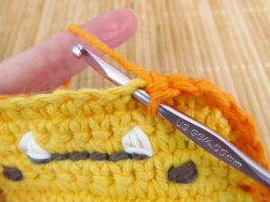SC into each stitch of starting chain of front piece