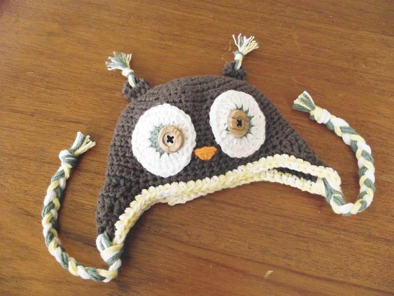 Crocheted Newborn Owl Hat