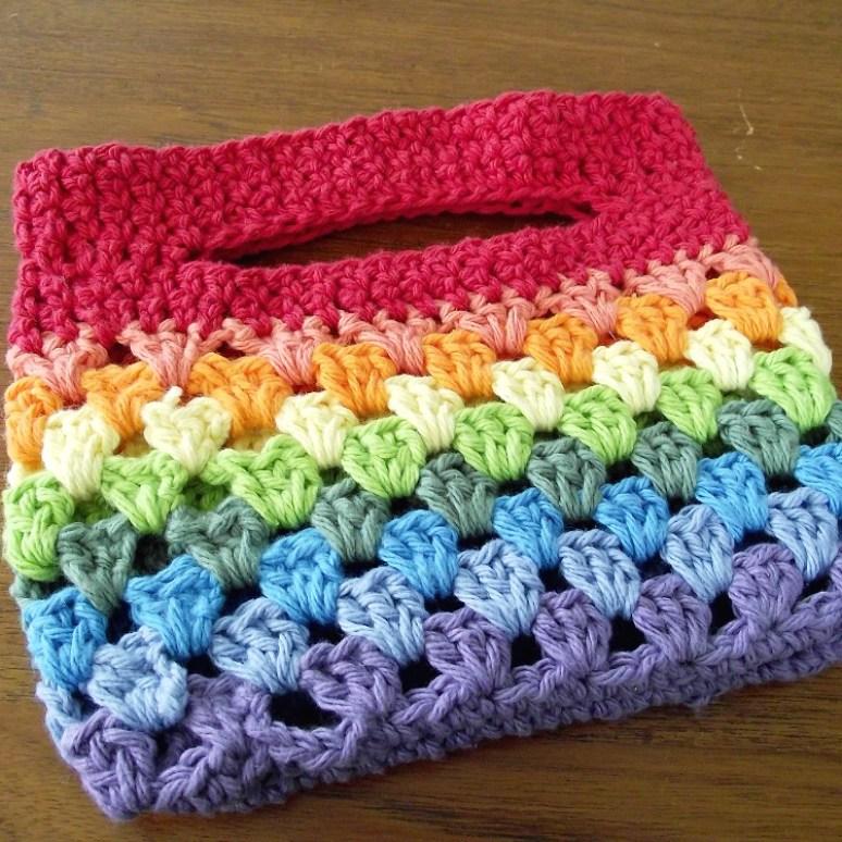 Crocheted Rainbow Granny Stripe Bag